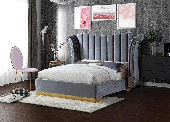 Wing design gray velvet elegant platform bed
