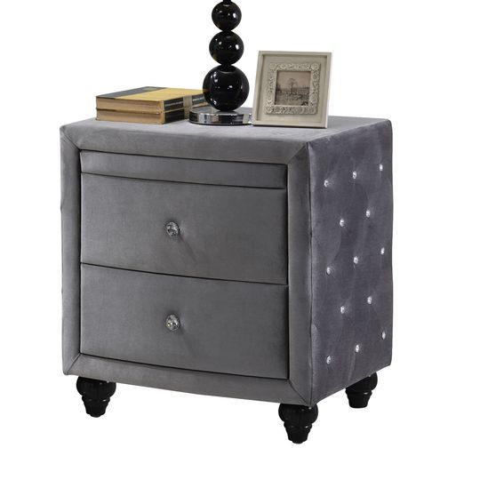 Gray fabric night stand w/ folding out table