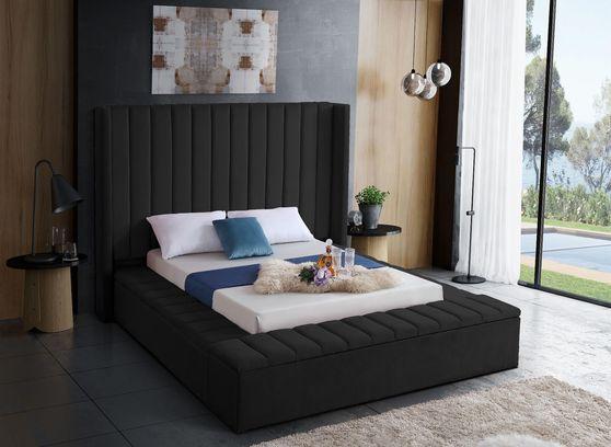 Channel tufting / storage black velvet full bed