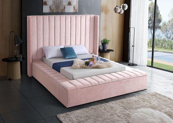 Channel tufting / storage pink velvet modern bed