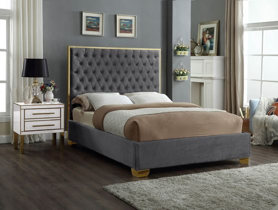 Modern gold legs/trim tufted bed in gray velvet