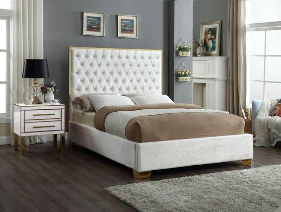 Modern gold legs/trim tufted bed in white velvet