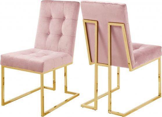 Gold base / tufted pink velvet dining chair