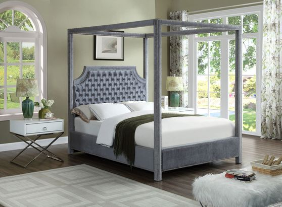 Canopy velvet fabric bed in modern style