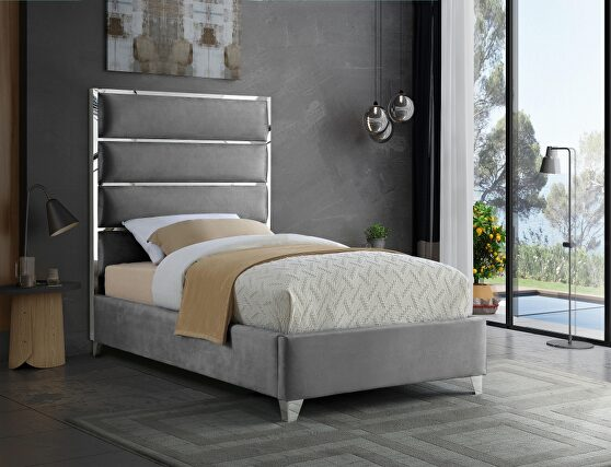 Chrome / gray velvet designer platform twin bed