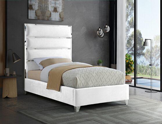 Chrome / white velvet designer platform twin bed
