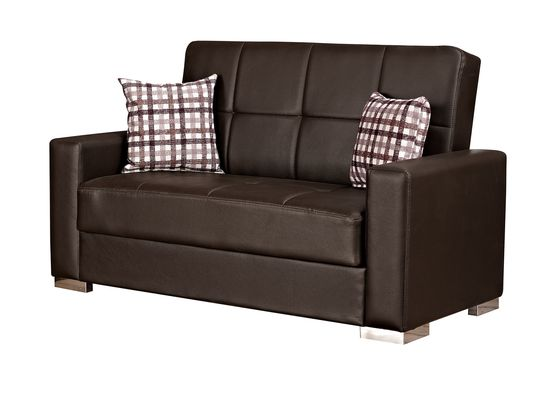 Brown leatherette loveseat w/ storage & bed option
