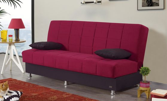 Burgundy / black fabric casual sleeper sofa