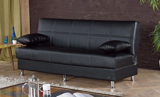 Black leatherette sleeper sofa w/ storage