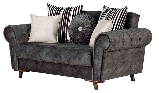 Gray fabric tufted arms loveseat w/ storage