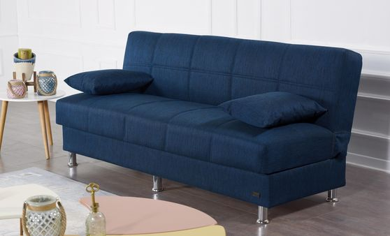 Navy chenille fabric sofa bed