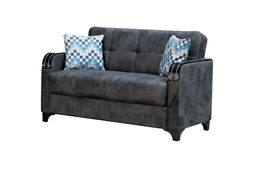 Gray fabric sleeper loveseat w/ wooden arms
