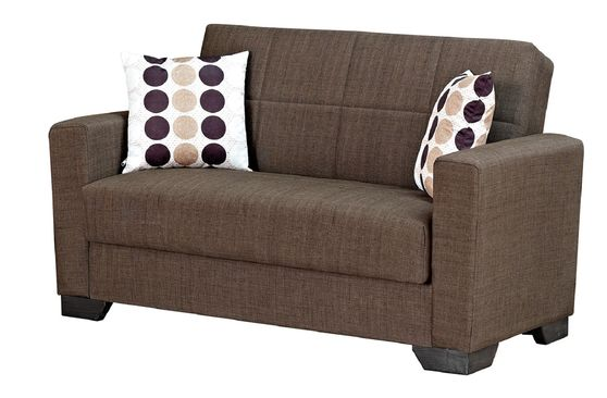 Brown fabric loveseat sofa bed w/ storage