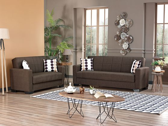 Brown fabric sofa bed w/ storage