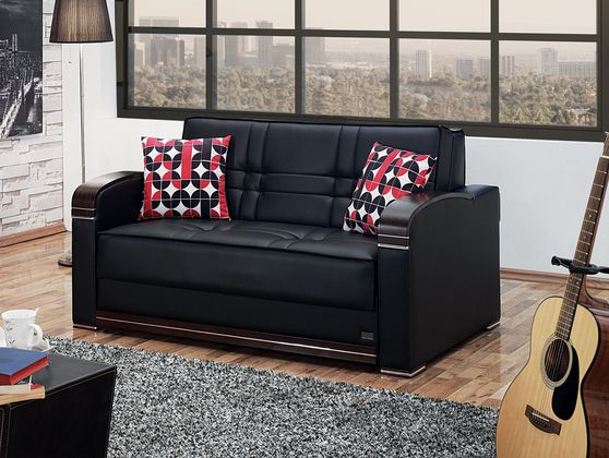 Loveseat sofa bed in black leatherette