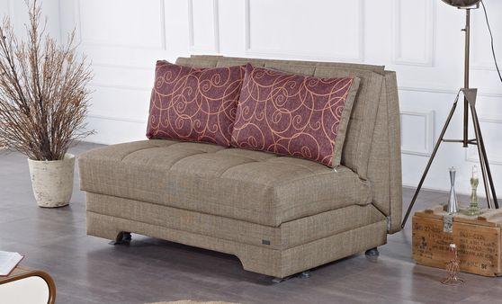 Convertible chocolate brown fabric sleeper loveseat