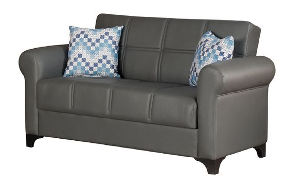 Bycast convertible leather loveseat w/ storage