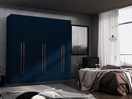 Modern freestanding wardrobe armoire closet in tatiana midnight blue