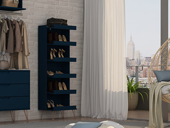 Shoe storage rack with 6 shelves in tatiana midnight blue