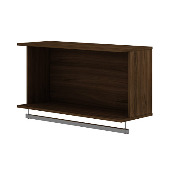 35.24 open floating hanging closet with shelf and hanging rod in brown
