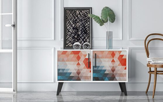 Mid-century- modern double side table 2.0 with 3 shelves in multi color red and blue