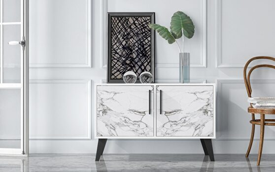 Mid-century- modern double side table 2.0 with 3 shelves in white marble
