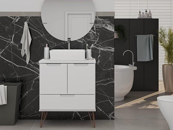 Bathroom vanity sink 1.0 with metal legs in white
