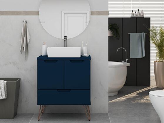 Bathroom vanity sink 1.0 with metal legs in tatiana midnight blue