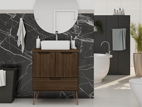 Bathroom vanity sink 1.0 with metal legs in brown
