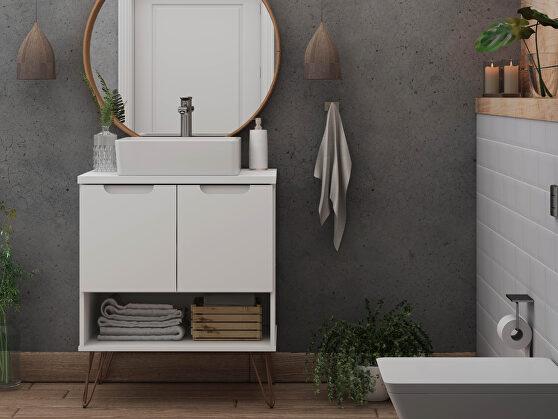 Bathroom vanity sink 2.0 with metal legs in white