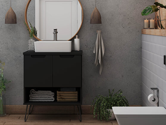 Bathroom vanity sink 2.0 with metal legs in black