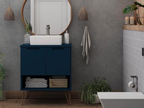 Bathroom vanity sink 2.0 with metal legs in tatiana midnight blue