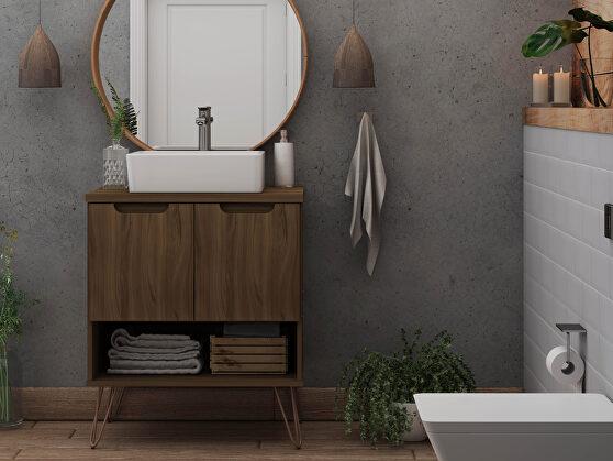 Bathroom vanity sink 2.0 with metal legs in brown