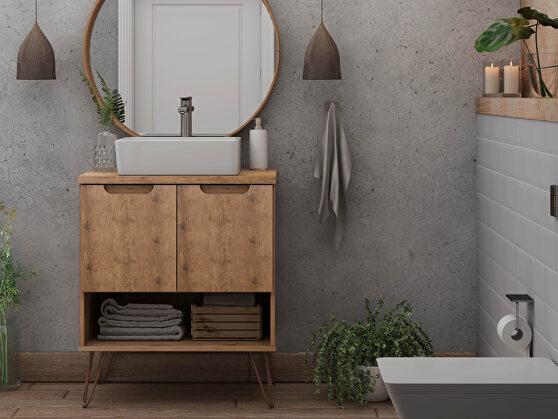 Bathroom vanity sink 2.0 with metal legs in nature