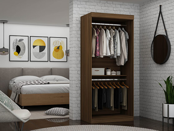 Open double hanging modern wardrobe closet with 2 hanging rods in brown