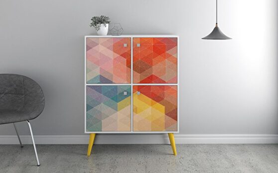 45.28 mid-century modern high double cabinet with funky colorful design and solid wood legs in white, color stamp and yellow