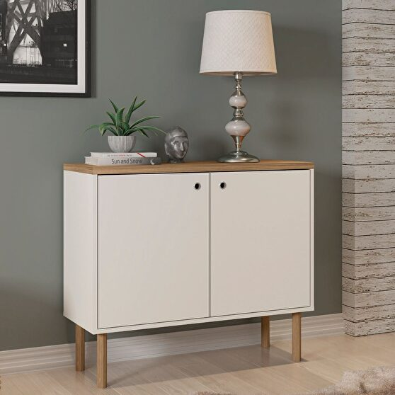 35.43 modern accent cabinet with solid top board and legs in off white and nature
