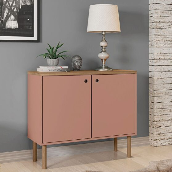 35.43 modern accent cabinet with solid top board and legs in ceramic pink and nature
