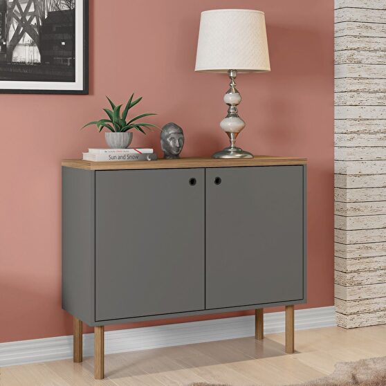 35.43 modern accent cabinet with solid top board and legs in gray and nature