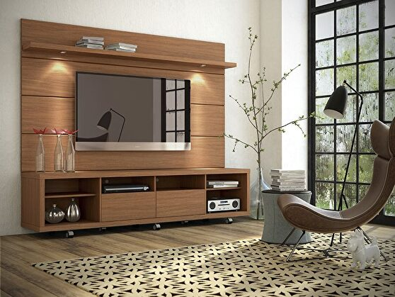 Tv stand and floating wall TV panel with led lights 2.2 in maple cream