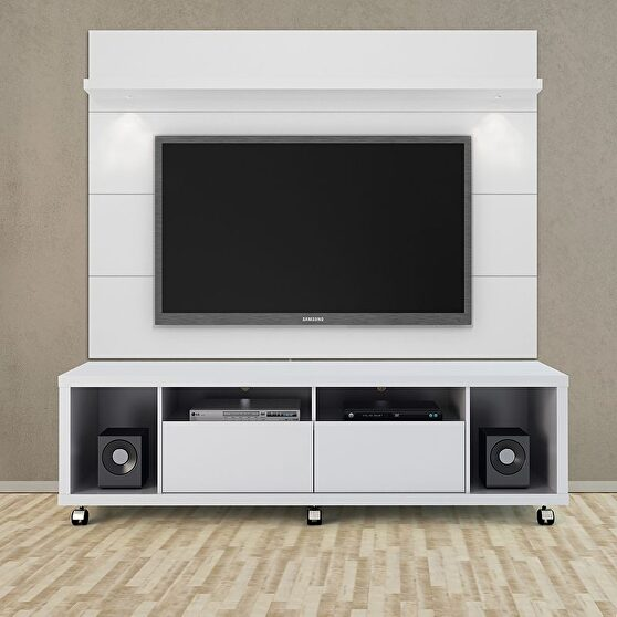 Tv stand and floating wall TV panel with led lights 1.8 in white gloss