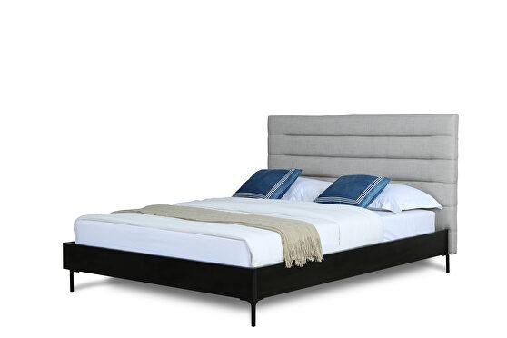Mid century - modern full bed in light gray