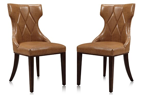 Saddle and walnut faux leather dining chair (set of two)