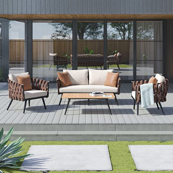 4-piece metal patio conversation set with brown and white cushions