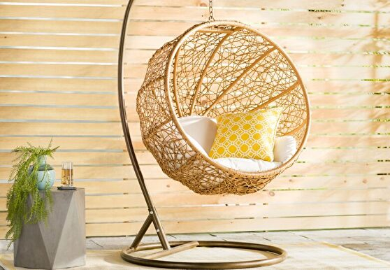 Metal and rattan hanging lounge egg patio swing with cream cushion