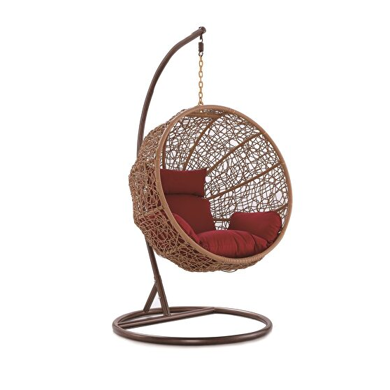Metal and rattan hanging lounge egg patio swing with red cushion