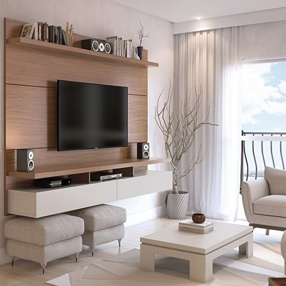 City 2.2 floating wall theater entertainment center in maple cream and off white