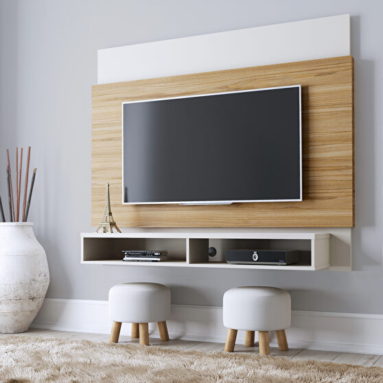 Floating entertainment center with 2 shelves in cinnamon and off white