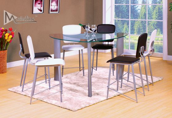 7pcs black/white counter heigh dining set