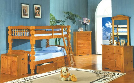 Rustic style solid wood twin/twin bunk bed